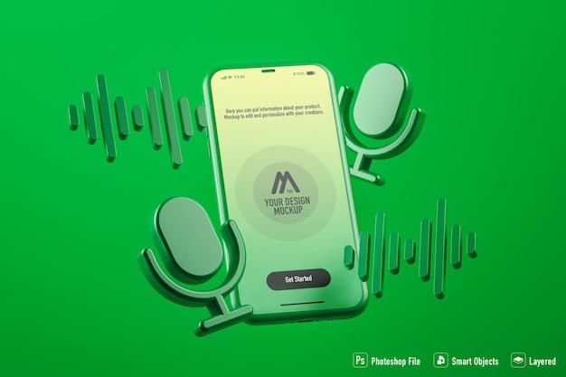Podcast-mobilanwendungsmodell auf grünem hintergrund isoliert