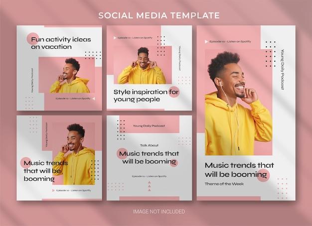 Podcast social media pack bundle template design