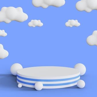 Podest für ihren produktanteil mit weißen wolken auf blauem hintergrund