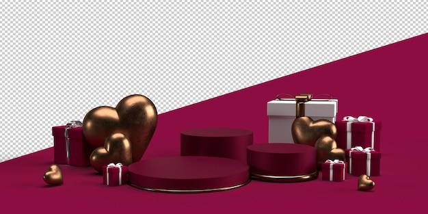 Podien für die produktplatzierung zum valentinstag mit dekorationen