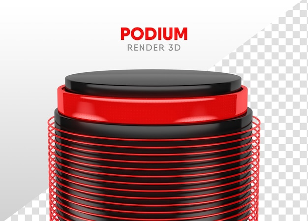 Podium 3d rendert realistisches schwarz und rot für die komposition