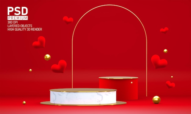 Podium am valentinstag mit dekorationen