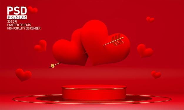 Podium am valentinstag mit dekorationen
