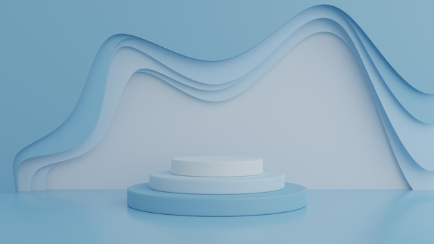 Podium auf blauem farbhintergrund für produkt. minimales konzept. 3d-rendering