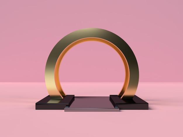 Podium der abstrakten szenengeometrieform in der 3d-darstellung