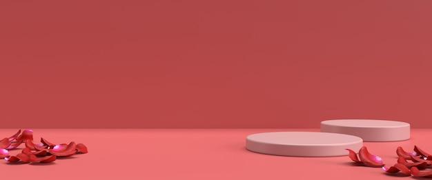 Podium für die produktplatzierung zum valentinstag in 3d-rendering