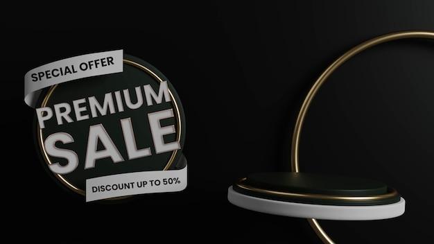Podium für luxus-premium-verkaufsabzeichen