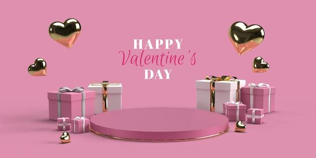Podium für produktplatzierung zum valentinstag mit dekorationen