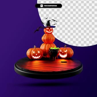 Podium halloween-szene 3d-render-illustration isoliert