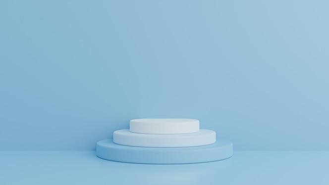 Podium in abstrakter blauer komposition, 3d-rendering, 3d-illustration