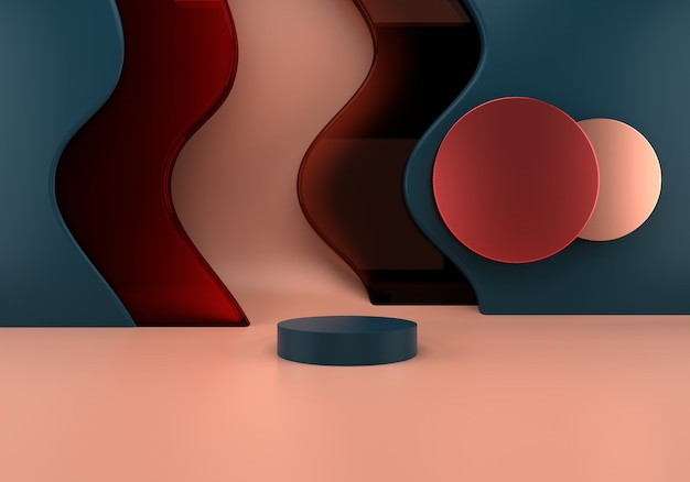 Podium mit 3d-rendering der abstrakten wellen