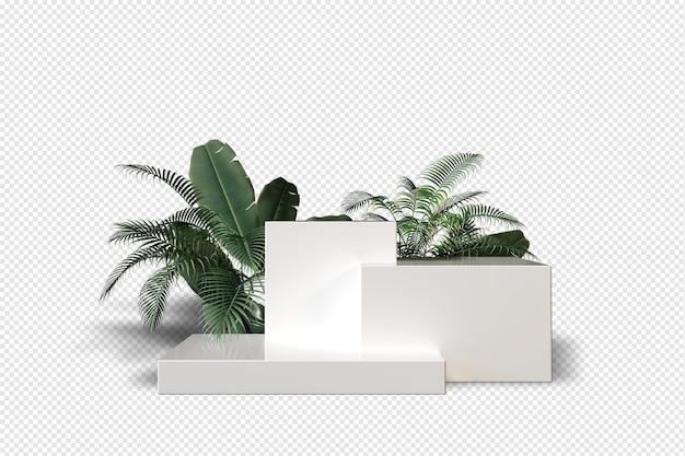 Podium mit blättern in d rendering isoliert