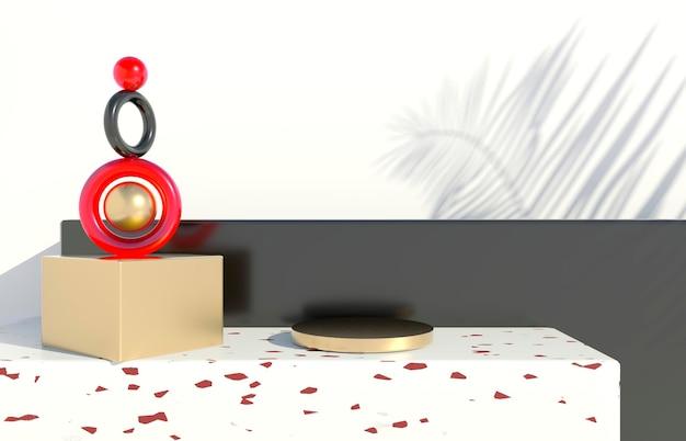 Podium mit palmblättern auf pastellfarbenem hintergrund. konzeptszenen-bühnenschaufenster für produkt, werbung, verkauf, banner, präsentation, kosmetik. minimaler leerer schaukasten. 3d