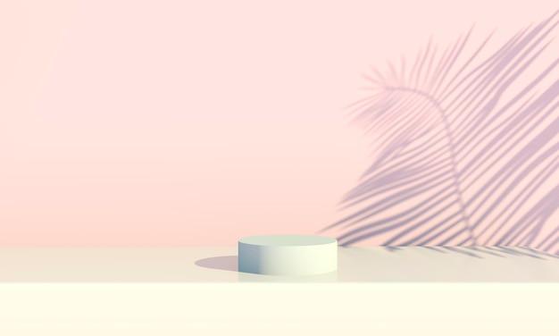 Podium mit palmblättern auf pastellfarbenem hintergrund