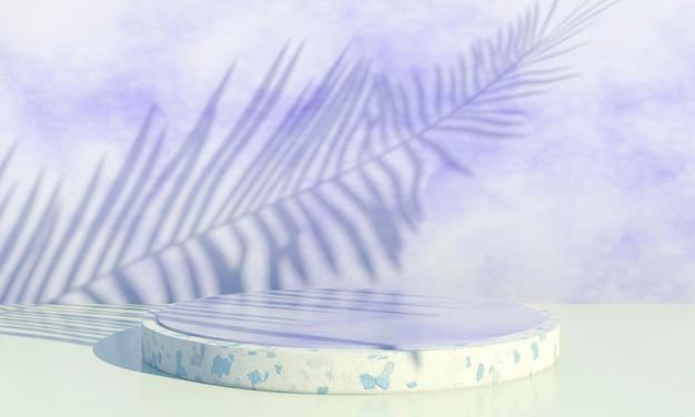 Podium mit palmblättern auf pastellhintergrund