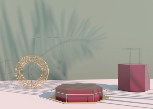 Podium mit palmblattschatten für die präsentation von kosmetischen produkten. leerer schaukastensockelhintergrund mock-up. 3d-rendering.