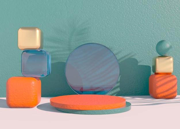 Podium mit palmblattschatten für die präsentation von kosmetischen produkten.