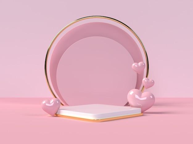 Podium produktpräsentation zum valentinstag in 3d-rendering