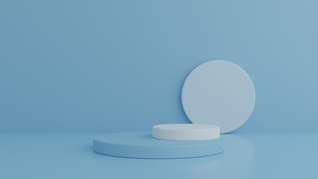 Podium und minimales blaues wandszenenpodest