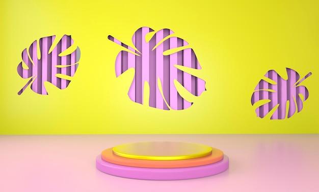 Podiumanzeige mit monstera-blättern im 3d-rendering