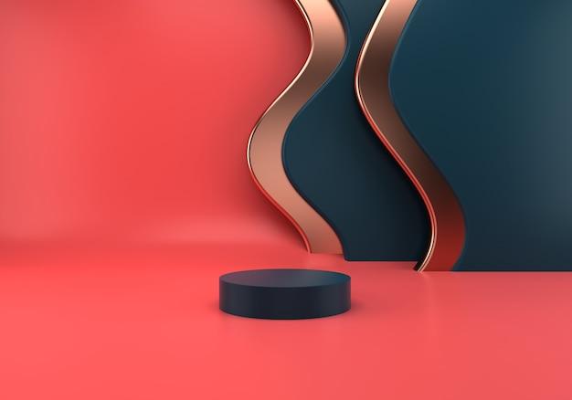 Podiumsnutzung für produktpräsentation mit abstraktem wellenhintergrund
