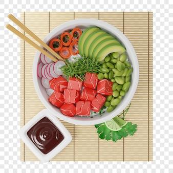 Poke bowl mit rohem fisch avocado rettich karotten sojabohnen chukka mit teriyaki sauce