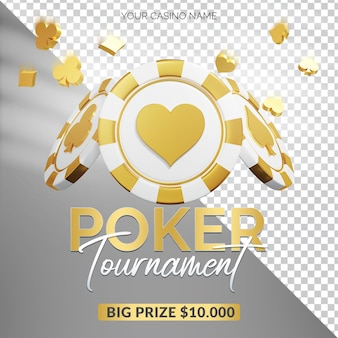 Poker tournament 3d render bildkomposition
