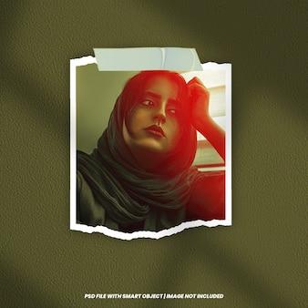 Polaroid-fotorahmen-modell mit lichteffekt premium psd