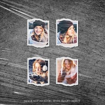 Polaroid quadratischer fotorahmen-set-mockup mit plastikfolieneffekt