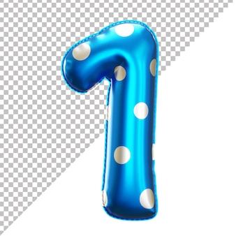 Polka dot party folienballon nummer 1 im 3d-stil