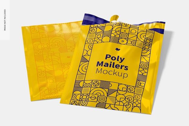 Poly mailers mockup, geöffnet und geschlossen