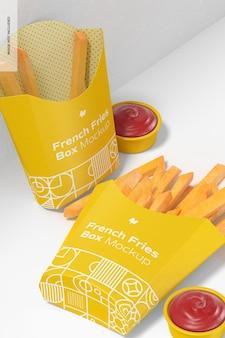 Pommes frites box mockup, fallen gelassen