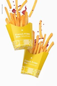 Pommes frites box mockup, falling