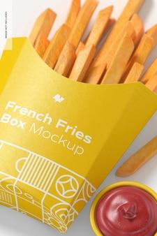 Pommes frites box mockup, nahaufnahme