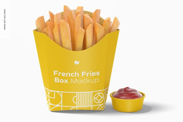 Pommes frites box mockup, vorderansicht