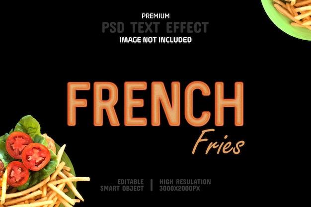 Pommes frites-text-effekt-vorlage Premium PSD