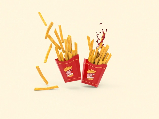 Pommes-frites-verpackungsmodell