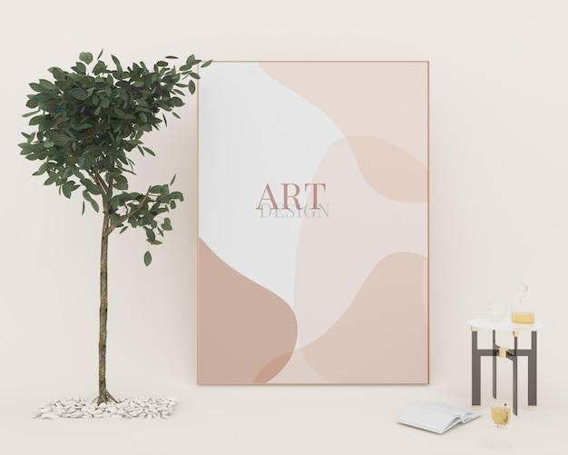 Porträtfotorahmen mockup-kunstdesign in der nähe von topfpflanzen