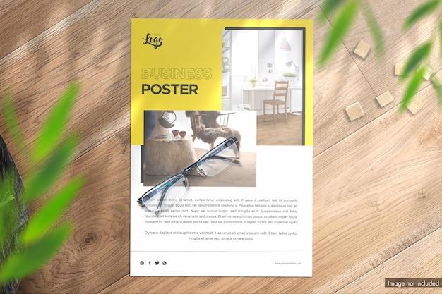 Porträtplakat draufsicht premium mockup mit zusätzlichen effekten