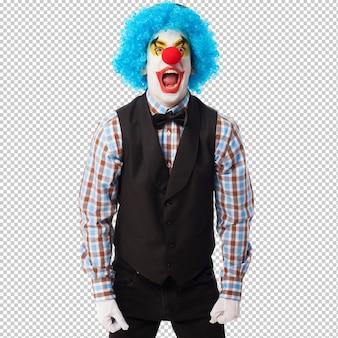 Portrait eines lustigen clowns über weiß