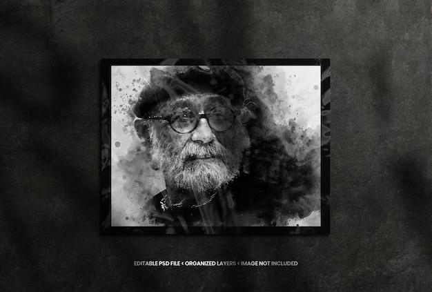 Portraitfotorahmen mit realistischer schattenüberlagerung