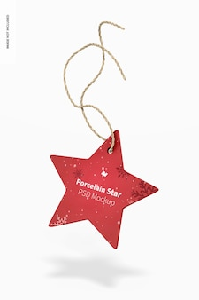 Porzellan stern ornament mockup, fallend