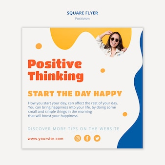 Positiv denkender quadratischer flyer-stil