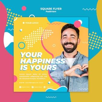 Positives konzept-quadrat-flyer-design