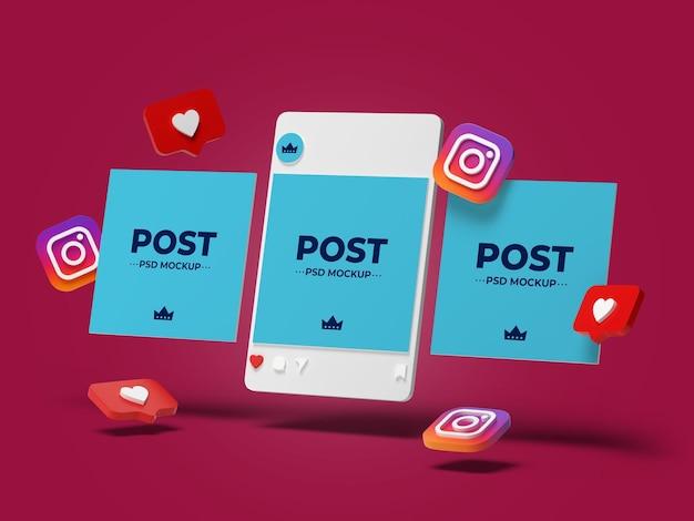 Post instagram mockup design isoliert