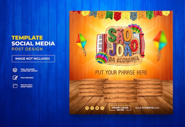 Post social media angebote sao joao 3d rendern brasilien festa junina