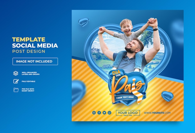 Post social media happy fathers day in brasilien 3d render template design heart