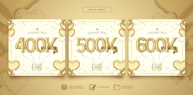 Posten sie social media 400.000 500.000 600.000 follower mit zahlenballons 3d-rendering