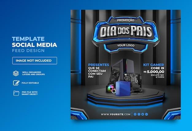 Posten sie social media vatertag 3d render template design im portugiesischen tag