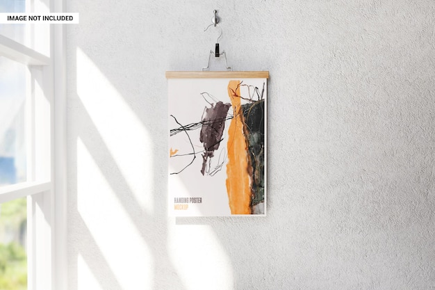 Poster auf einem kleiderbügel, der an der wandmodell hängt